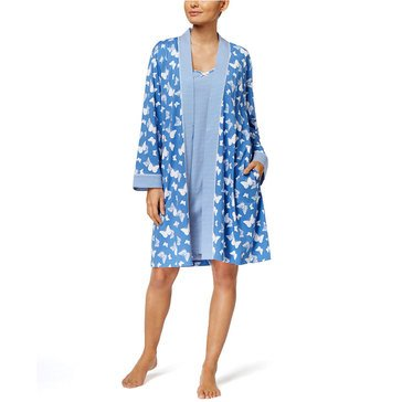 Charter Club Robe and Chemise Travel Set  Blue Butterfly