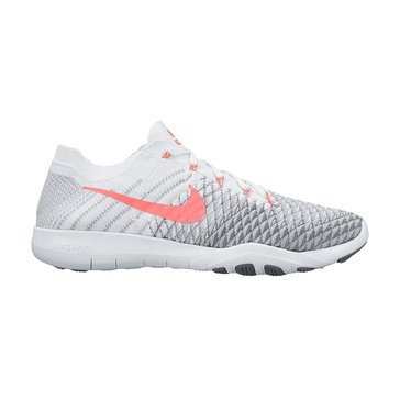 Nike Free TR Flyknit 2 Women's Training Shoe White/ Hyper Punch/ Wolf Grey/ Cool Grey