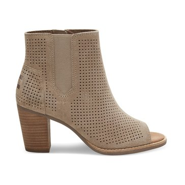 Toms Majorca Women's Peep Toe Bootie Perforated Stucco Suede