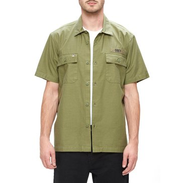 Obey Men's Mission Military Short Sleeve Woven Shirt