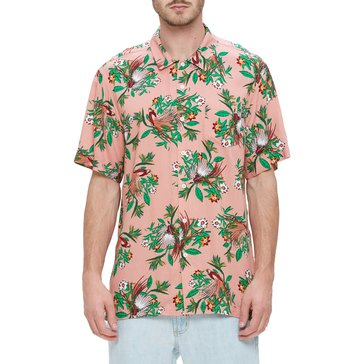 Obey Men's Paradise Short Sleeve Floral Print Woven Shirt