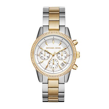 Michael Kors Women's Ritz Two Tone Stainless Steel and Gold Tone Bracelet Watched 37mm
