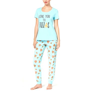Mommy And Me Missy Short Sleeve Pajama Set Pizza Toppings