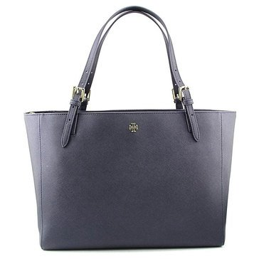 Tory Burch York Buckle Leather Tote Tory Navy