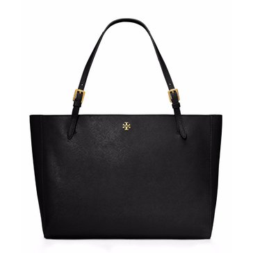 Tory Burch York Buckle Leather Tote Black