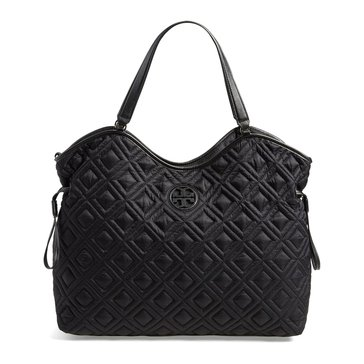 Tory Burch Marion Quilted Slouchy Baby Bag Black