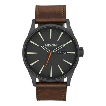 Nixon Men's Sentry Black/Taupe Leather Watch, 42mm