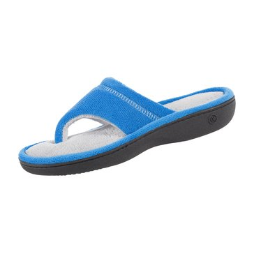 Totes Microterry Crew Thong Slipper Blue