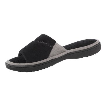 Totes Microterry Mei Slide Slipper Black