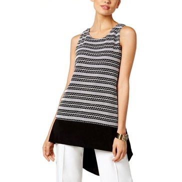 Alfani Knit Two-Tones Linear Stitch Sleeveless Hi Lo Tank in Black/ White