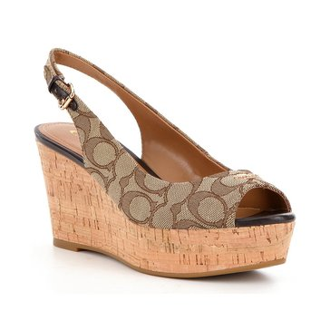 Coach Ferry Women's Wedge Sandal Khaki/Chestnut
