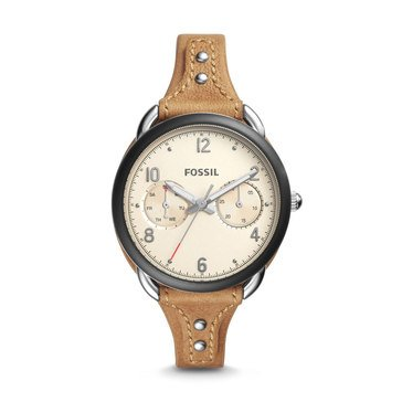 Fossil Women's Tailor Black IP Tan Double Pad Watch 35mm