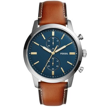 Fossil Men's Townsman Blue Dial With Brown Leather Strap Watch