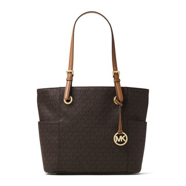 Michael Kors Jet Set Item East West Signature Tote Brown