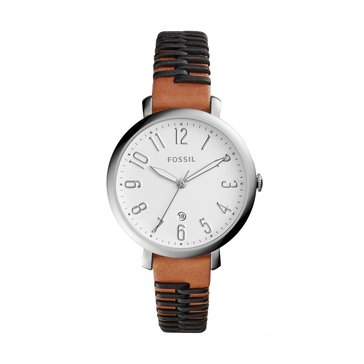 Fossil Women's Jacqueline Brown Leather Black Stitching Watch, 36mm