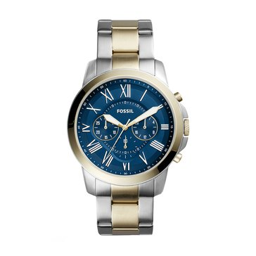 Fossil Men's Grant Blue Two-Tone Stainless Steel/Gold Blue Watch, 44mm