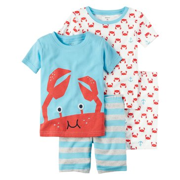 Carter's Toddler Boys' 4-Piece Crab Characters Pajama, Blue Stripe