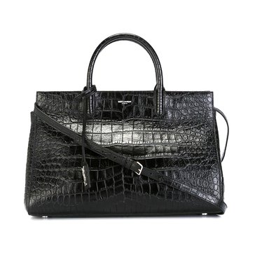 Saint Laurent Cabas Rive Gauche Crocodile Embossed Leather Medium Satchel Black