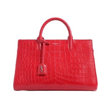 Saint Laurent Cabas Rive Gauche Crocodile Embossed Leather Small Satchel Red