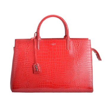 Saint Laurent Cabas Rive Gauche Crocodile Embossed Leather Medium Satchel Red