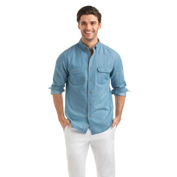 Vineyard Vines Men's Solid Chambray Two-Pocket Slim Crosby Sportshirt