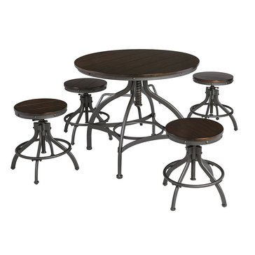 Signature Design by Ashley Odium Counter Height Dining Room Table and Bar Stools Set