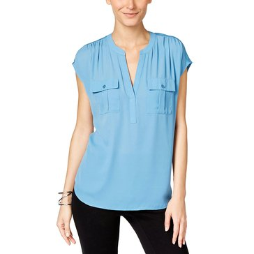 I.N.C. International Concepts Women's Women's  Sleeveless Half Placket Dolman Knit Top in Chambray