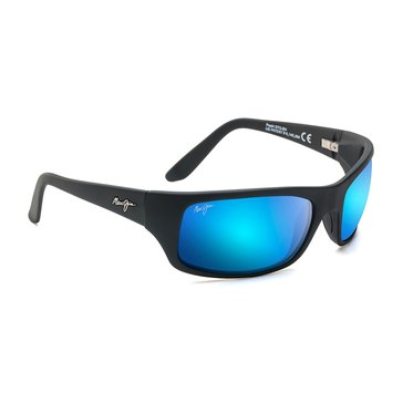 Maui Jim Unisex Peahi Polarized Sunglasses B202-2M, Matte Black/ Blue Hawaii 65mm