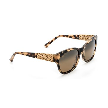 Maui Jim Women's Monstera Leaf Havana Yellow Gold Frame Bronze Lens Sunglasses 57mm
