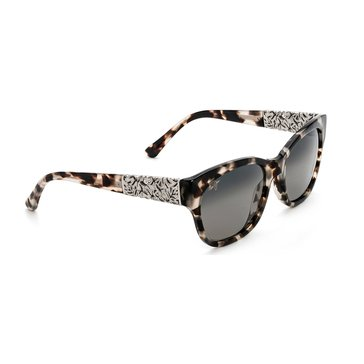Maui Jim Women's Monstera Leaf White Tokyo Gold Accents Grey Lens Sunglasses 57mm