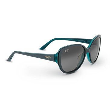 Maui Jim Women's Swept Away Blue Frame With Teal Interior Grey Lens Sunglasses 56mm