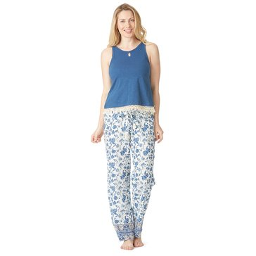 Lucky Brand Women's Cotton Fringe Tee Jay Pajama Blue Floral