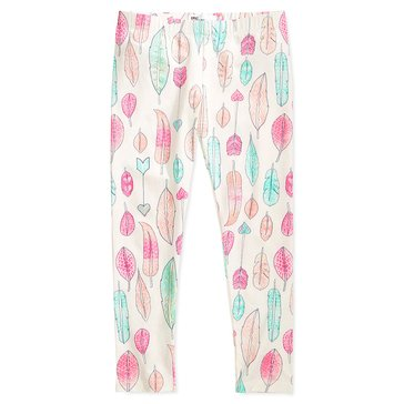 Epic Threads Little Girls' Feather Print Leggings, Ivory