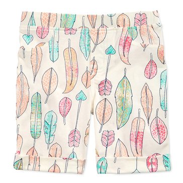Epic Threads Little Girls' Feather Print Bermuda Shorts, Ivory