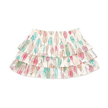 Epic Threads Little Girls' Feather Print Tiered Skirt, Ivory