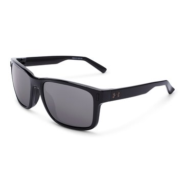 Under Armour Assistan Storm Polarized Shiny Black Gray Sunglasses