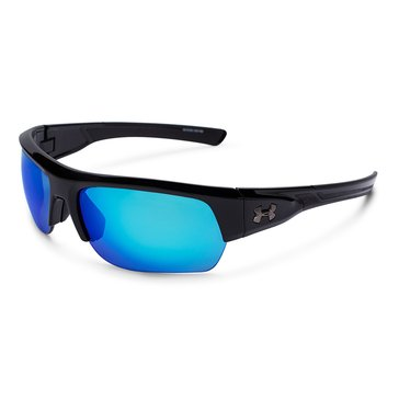 Under Armour Big Shot Storm Shiny Black Polarized Gray Blue Mirror Sunglasses