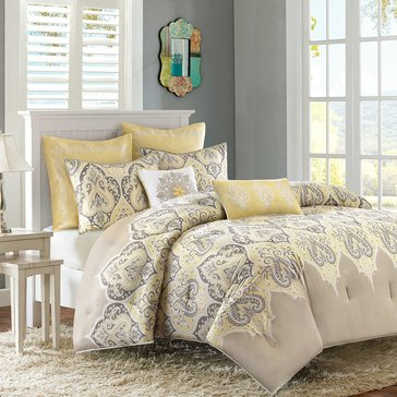 Nisha 7-Piece Comforter Set, Yellow - Queen