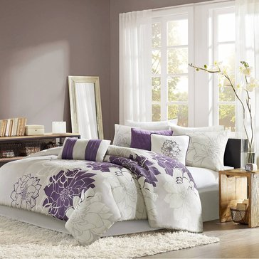 Lola 7-Piece Comforter Set, Purple - King