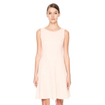 Karl Lagerfeld Jacquard Fit-N-Flare Dress Sherbet