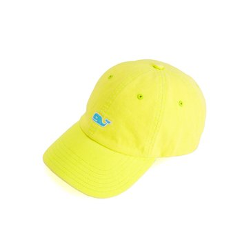 Vineyard Vines Classic Washed Baseball Hat in Lemon With Blue Whale