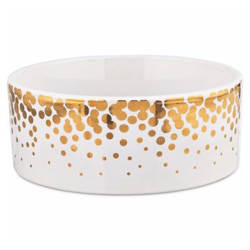 Harmony 6-Cup Gold Dots Ceramic Dog Bowl