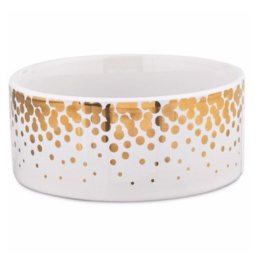 Harmony 3-Cup Gold Dots Ceramic Dog Bowl