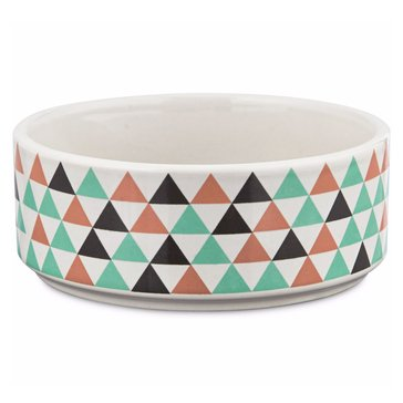 Harmony 1-Cup Ceramic Boho Dog Bowl