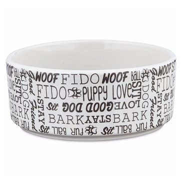 Harmony 3-Cup Woof Ceramic Dog Bowl