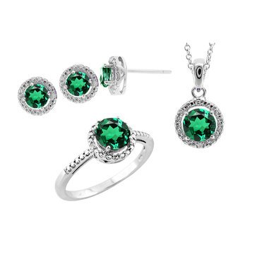 Sterling Silver Created Emerald White Topaz 3 Piece Set