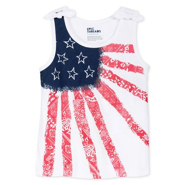 Epic Threads Little Girls' Distressed Flag Tank, White