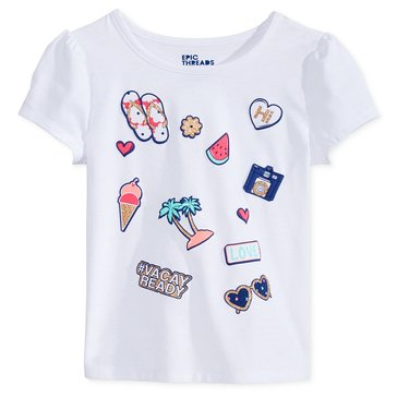 Epic Threads Little Girls' Patches Tee, White