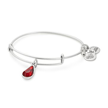 Alex and Ani January Birth Month Expandable Bangle with Garnet Swarovski Crystal, Silver Finish