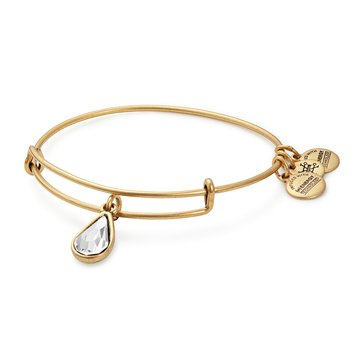 Alex and Ani April Birth Month Expandable Bangle with Clear Crystal Swarovski Crystal, Gold Finish